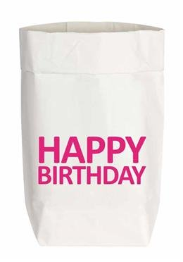 Papiertüte Happy Birthday neon pink - klein