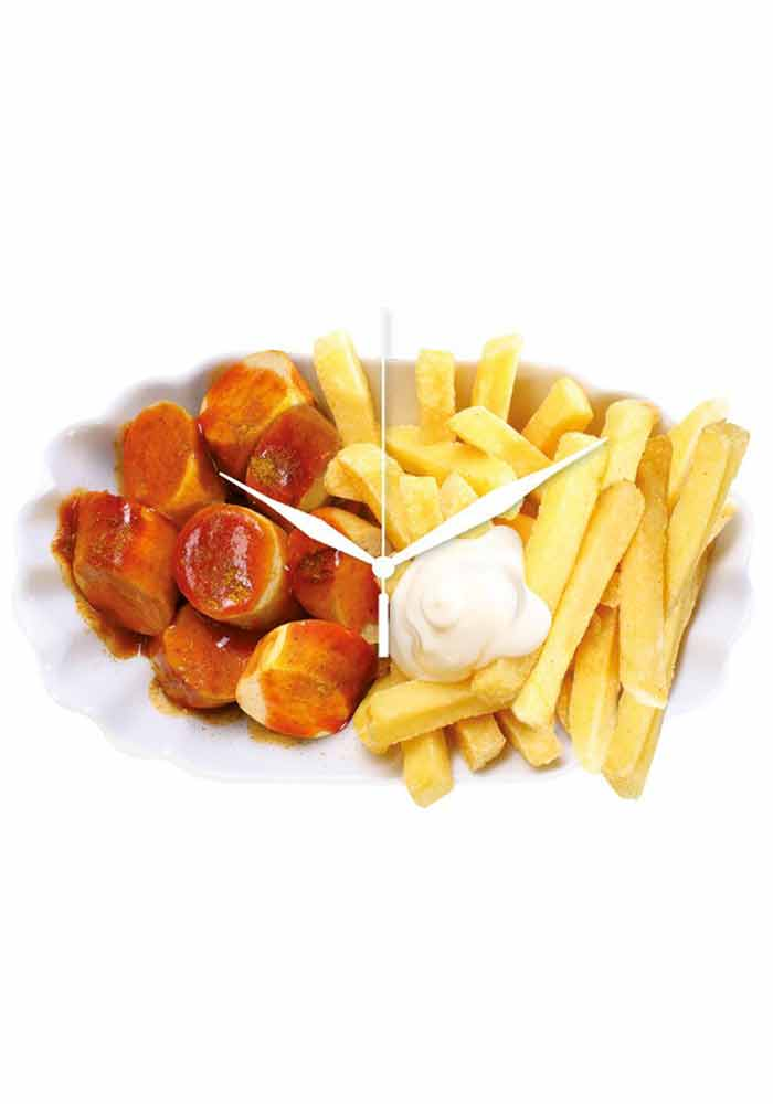 Wanduhr - Currywurst Pommes