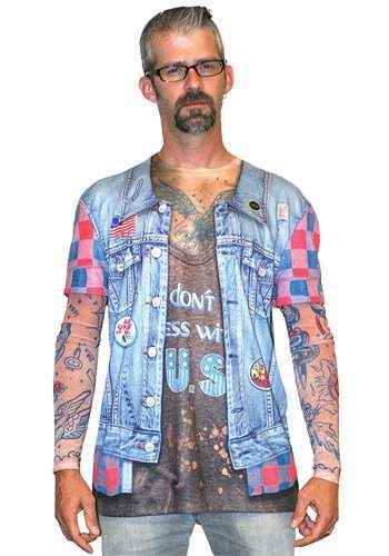 Faux Real - Men Tattoo Jeans Jacket Longsleeve-M