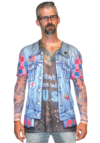 Faux Real - Men Tattoo Jeans Jacket Longsleeve-XL