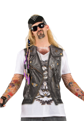 Faux Real - Tattoo Leather Vest Longsleeve-M